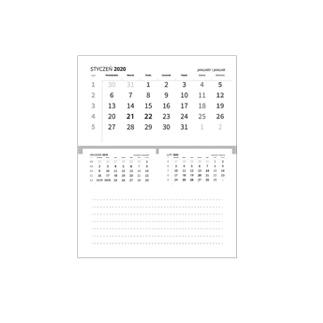 Kalendarze biurkowe piramidki, miesięczne, klejone
