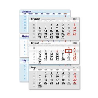 Kalendarze trójdzielne duże
