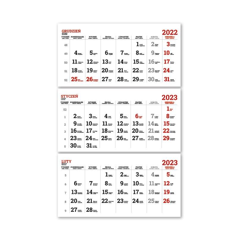 Kalendarze trójdzielne spiralowane